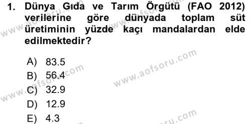 Temel Zootekni Dersi 2015 - 2016 Yılı (Vize) Ara Sınav Soruları 1. Soru