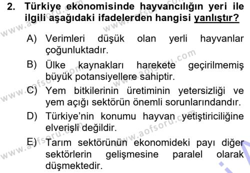 Temel Zootekni Dersi 2015 - 2016 Yılı (Vize) Ara Sınav Soruları 2. Soru