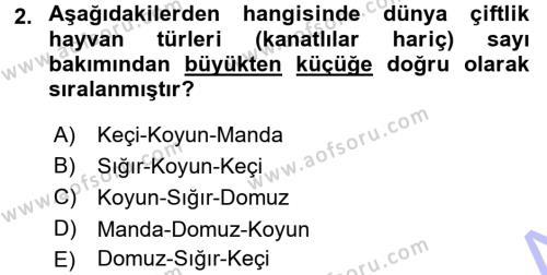 Temel Zootekni Dersi 2015 - 2016 Yılı (Final) Dönem Sonu Sınavı 2. Soru