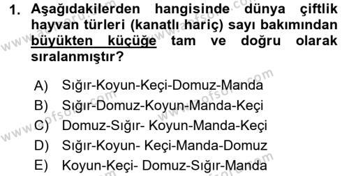 Temel Zootekni Dersi 2016 - 2017 Yılı (Vize) Ara Sınav Soruları 1. Soru