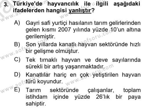 Temel Zootekni Dersi 2016 - 2017 Yılı (Vize) Ara Sınav Soruları 3. Soru
