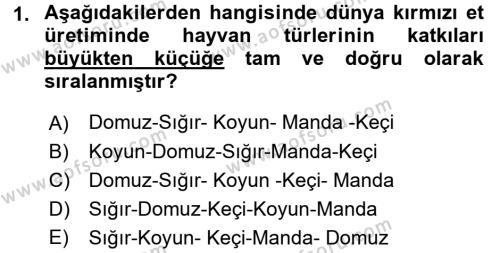 Temel Zootekni Dersi 2016 - 2017 Yılı (Final) Dönem Sonu Sınavı 1. Soru