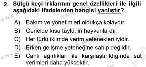 Temel Zootekni Dersi 2016 - 2017 Yılı (Final) Dönem Sonu Sınavı 2. Soru