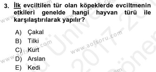 Temel Zootekni Dersi 2017 - 2018 Yılı (Final) Dönem Sonu Sınav Soruları 3. Soru