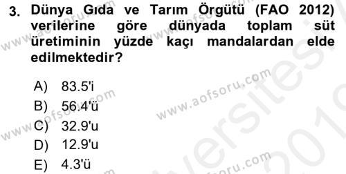 Temel Zootekni Dersi 2018 - 2019 Yılı (Vize) Ara Sınav Soruları 3. Soru
