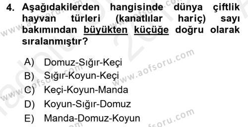 Temel Zootekni Dersi 2018 - 2019 Yılı (Vize) Ara Sınav Soruları 4. Soru