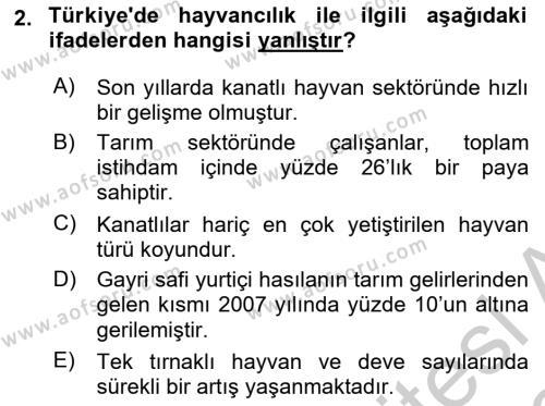 Temel Zootekni Dersi 2018 - 2019 Yılı Yaz Okulu Sınav Soruları 2. Soru