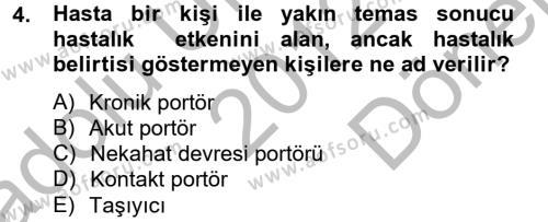Hijyen ve Sanitasyon Dersi 2012 - 2013 Yılı (Final) Dönem Sonu Sınav Soruları 4. Soru