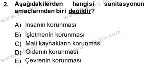 Hijyen ve Sanitasyon Dersi 2013 - 2014 Yılı Ara Sınavı 2. Soru