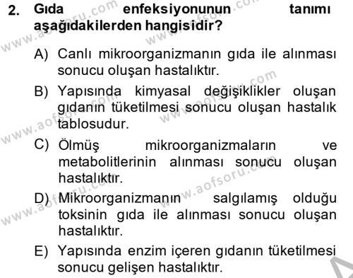 Hijyen ve Sanitasyon Dersi 2013 - 2014 Yılı (Final) Dönem Sonu Sınavı 2. Soru