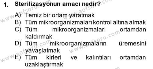 Hijyen ve Sanitasyon Dersi 2013 - 2014 Yılı Tek Ders Sınav Soruları 1. Soru