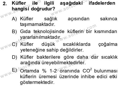 Hijyen ve Sanitasyon Dersi 2014 - 2015 Yılı Dönem Sonu Sınavı 2. Soru