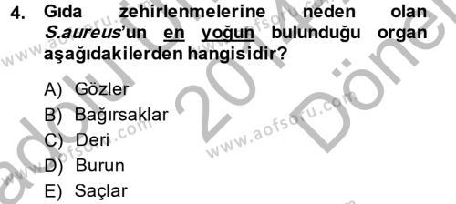 Hijyen ve Sanitasyon Dersi 2014 - 2015 Yılı Dönem Sonu Sınavı 4. Soru