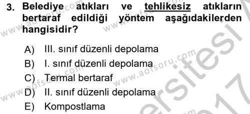 Hijyen ve Sanitasyon Dersi 2016 - 2017 Yılı Ara Sınavı 3. Soru