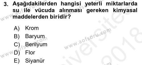 Hijyen ve Sanitasyon Dersi 2017 - 2018 Yılı (Final) Dönem Sonu Sınavı 3. Soru