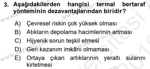 Hijyen ve Sanitasyon Dersi 2018 - 2019 Yılı (Vize) Ara Sınav Soruları 3. Soru
