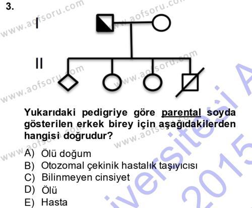 Temel Veteriner Genetik Dersi 2014 - 2015 Yılı (Vize) Ara Sınavı 3. Soru