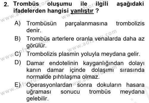 Temel Veteriner Fizyoloji Dersi 2018 - 2019 Yılı (Final) Dönem Sonu Sınav Soruları 2. Soru