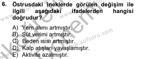 Hayvan Davranışları ve Refahı Dersi 2012 - 2013 Yılı (Vize) Ara Sınavı 6. Soru