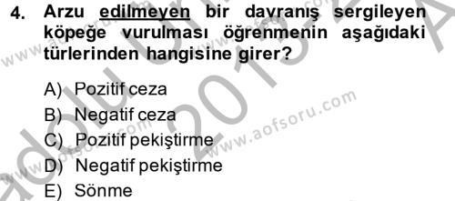 Hayvan Davranışları ve Refahı Dersi 2013 - 2014 Yılı (Vize) Ara Sınavı 4. Soru
