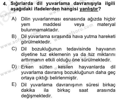 Hayvan Davranışları ve Refahı Dersi 2018 - 2019 Yılı (Final) Dönem Sonu Sınav Soruları 4. Soru