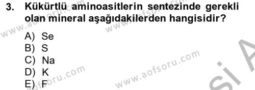 Temel Veteriner Biyokimya Dersi 2012 - 2013 Yılı (Final) Dönem Sonu Sınav Soruları 3. Soru