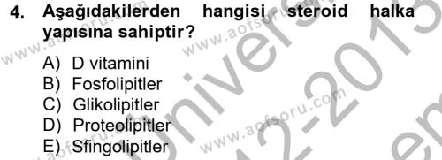 Temel Veteriner Biyokimya Dersi 2012 - 2013 Yılı (Final) Dönem Sonu Sınav Soruları 4. Soru