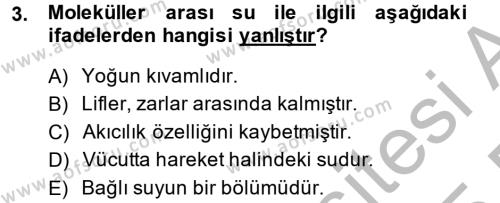 Temel Veteriner Biyokimya Dersi 2014 - 2015 Yılı (Vize) Ara Sınavı 3. Soru