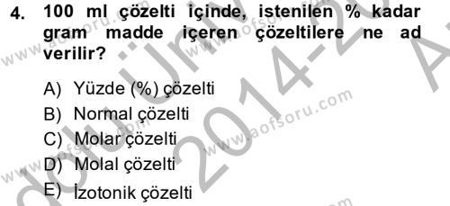 Temel Veteriner Biyokimya Dersi 2014 - 2015 Yılı (Vize) Ara Sınavı 4. Soru
