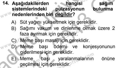 Temel Sürü Sağlığı Yönetimi Dersi 2012 - 2013 Yılı Ara Sınavı 14. Soru 1. Soru