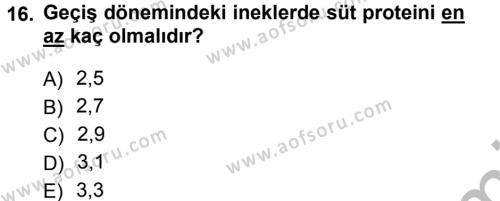 Temel Sürü Sağlığı Yönetimi Dersi 2012 - 2013 Yılı (Vize) Ara Sınavı 16. Soru