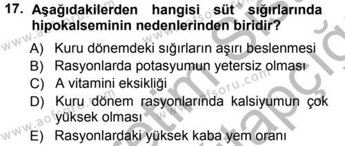 Temel Sürü Sağlığı Yönetimi Dersi 2012 - 2013 Yılı (Vize) Ara Sınavı 17. Soru