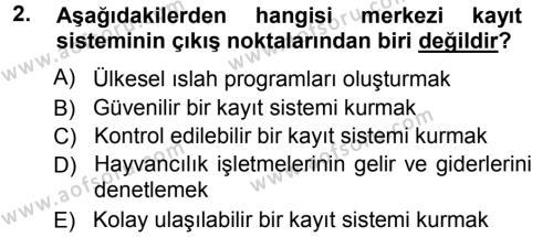 Temel Sürü Sağlığı Yönetimi Dersi 2012 - 2013 Yılı Ara Sınavı 2. Soru 1. Soru