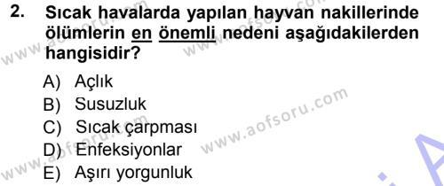 Temel Sürü Sağlığı Yönetimi Dersi 2012 - 2013 Yılı (Final) Dönem Sonu Sınavı 2. Soru