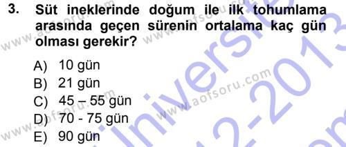 Temel Sürü Sağlığı Yönetimi Dersi 2012 - 2013 Yılı (Final) Dönem Sonu Sınavı 3. Soru