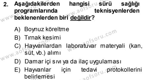 Temel Sürü Sağlığı Yönetimi Dersi 2013 - 2014 Yılı (Vize) Ara Sınavı 2. Soru