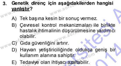 Temel Sürü Sağlığı Yönetimi Dersi 2013 - 2014 Yılı (Vize) Ara Sınavı 3. Soru