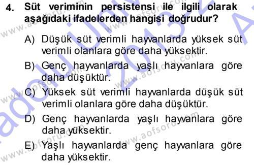 Temel Sürü Sağlığı Yönetimi Dersi 2013 - 2014 Yılı (Vize) Ara Sınavı 4. Soru