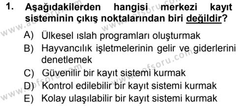 Temel Sürü Sağlığı Yönetimi Dersi 2014 - 2015 Yılı Tek Ders Sınav Soruları 1. Soru