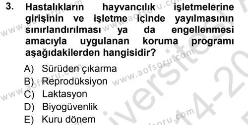 Temel Sürü Sağlığı Yönetimi Dersi 2014 - 2015 Yılı Tek Ders Sınav Soruları 3. Soru