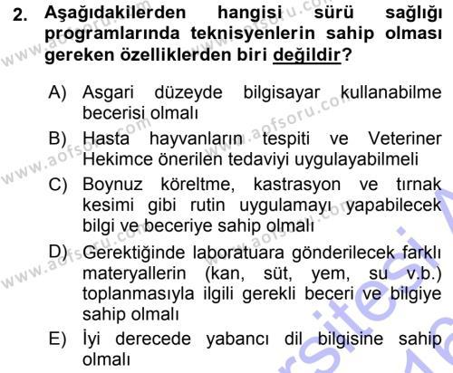 Temel Sürü Sağlığı Yönetimi Dersi 2015 - 2016 Yılı (Vize) Ara Sınav Soruları 2. Soru