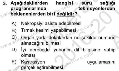 Temel Sürü Sağlığı Yönetimi Dersi 2016 - 2017 Yılı Ara Sınavı 3. Soru