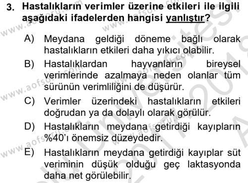 Temel Sürü Sağlığı Yönetimi Dersi 2017 - 2018 Yılı (Vize) Ara Sınav Soruları 3. Soru
