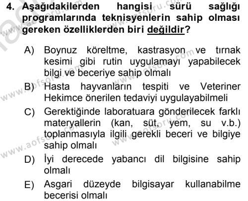 Temel Sürü Sağlığı Yönetimi Dersi 2017 - 2018 Yılı (Vize) Ara Sınav Soruları 4. Soru