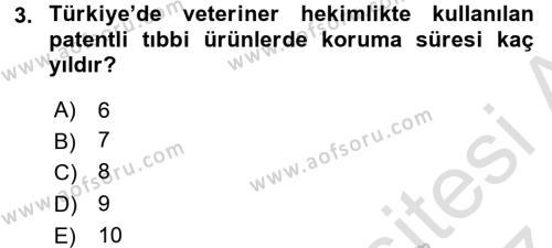 Temel Veteriner Farmakoloji ve Toksikoloji Dersi 2016 - 2017 Yılı (Final) Dönem Sonu Sınav Soruları 3. Soru