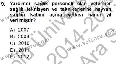 Veteriner Hizmetleri Mevzuatı ve Etik Dersi Ara Sınavı Deneme Sınav Soruları 9. Soru