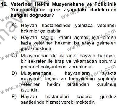 Veteriner Hizmetleri Mevzuatı ve Etik Dersi Ara Sınavı Deneme Sınav Soruları 16. Soru