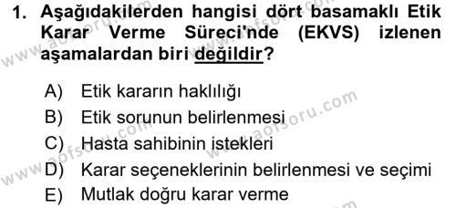 Veteriner Hizmetleri Mevzuatı ve Etik Dersi 2016 - 2017 Yılı (Vize) Ara Sınav Soruları 1. Soru