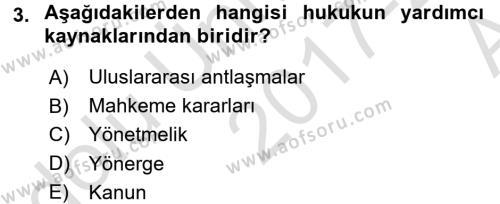 Veteriner Hizmetleri Mevzuatı ve Etik Dersi 2017 - 2018 Yılı (Vize) Ara Sınav Soruları 3. Soru