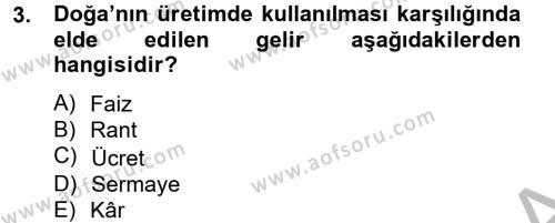 Hayvancılık Ekonomisi Dersi 2012 - 2013 Yılı (Vize) Ara Sınav Soruları 3. Soru